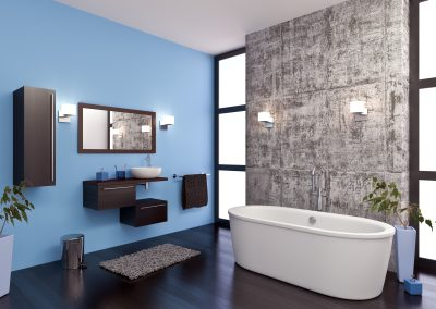 Bathroom With Blue Walls And Free Standing Bath