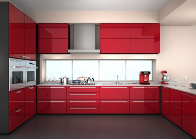 Fitted Kitchen With Red Units